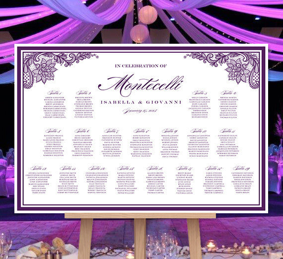 Wedding Seating Chart Poster Vintage Lace Purple