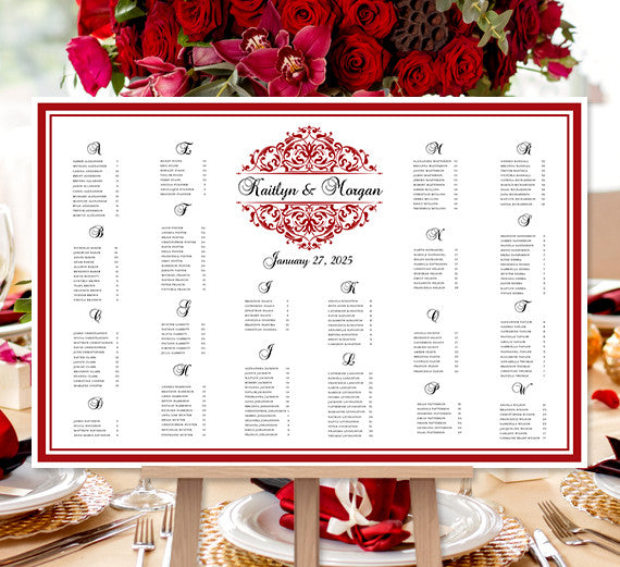 Wedding Seating Chart Poster Grace Red Black