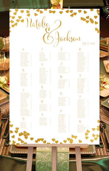 Wedding Seating Chart Poster Confetti Hearts Gold