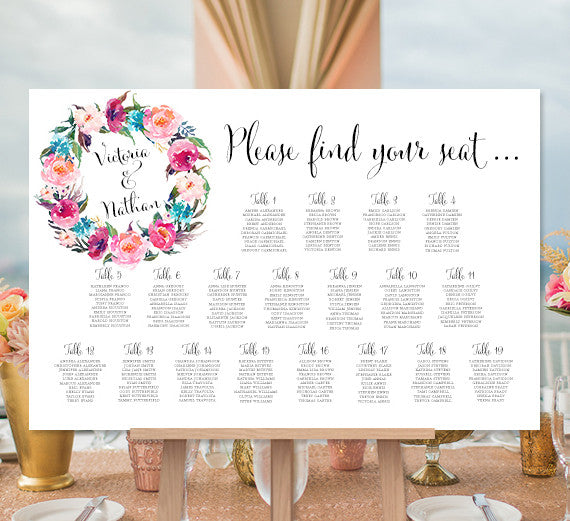 Wedding Seating Chart Poster Floral Wreath 2