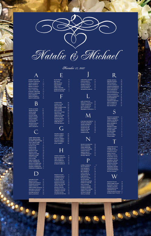 Wedding Seating Chart Poster Calligraphic Heart Navy Blue