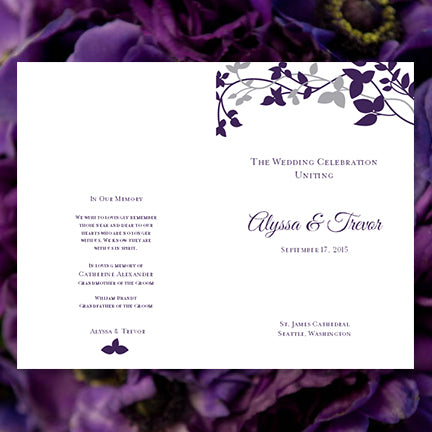 Wedding Program Template Forever Entwined Purple Eggplant and Silver
