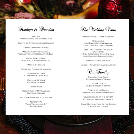 Wedding Program Template Burgundy Red Blush Pink Marsala Romantic