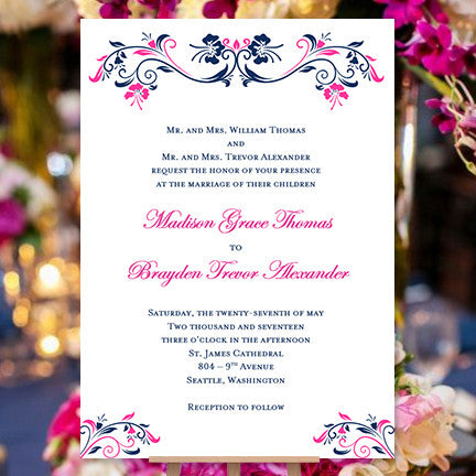 Printable Wedding Invitations Navy Fuchsia Annabelle