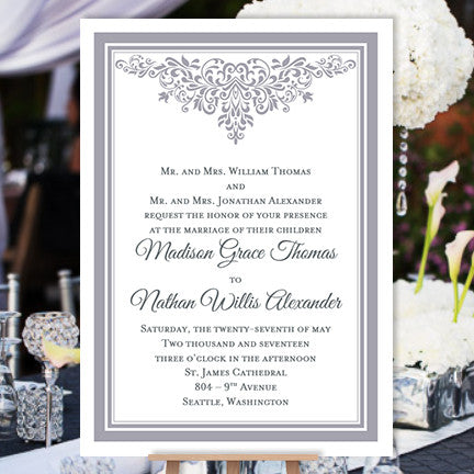 Printable Wedding Invitations Gray Anna Maria