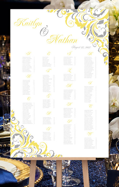 Wedding Seating Chart Poster Brooklyn Lemon Yellow Gray
