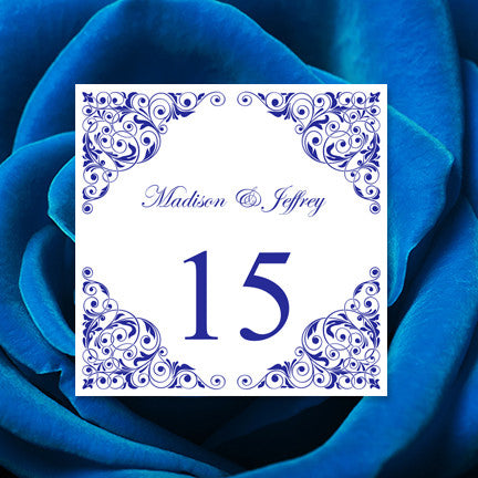 image regarding Free Printable Wedding Table Number Templates named Printable Desk Quantity Template Isabella Royal Blue Tent