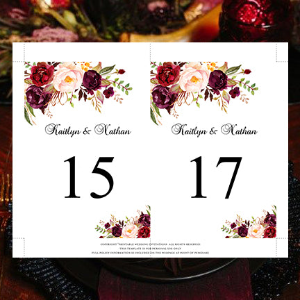 Marsala Burgundy Blush Pink Roses Seating Board Reception Sign DEMO AVAILABLE Multiple Sizes DIY Wedding Template Rose Seating Chart