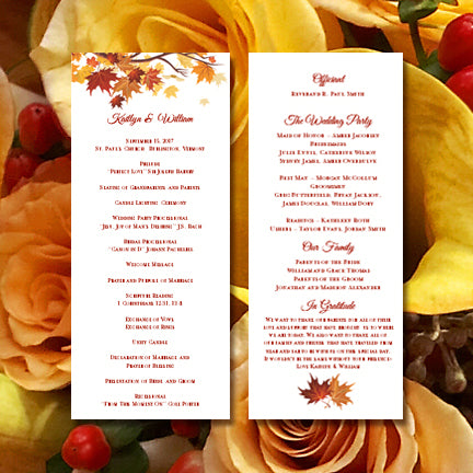 Slim Wedding Program Fall in Love Autumn Colors