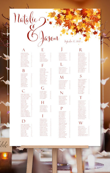 Wedding Seating Chart Poster Falling Leaves Red Orange
