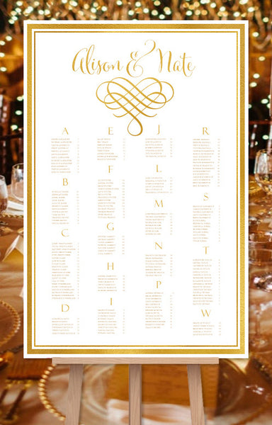Wedding Seating Chart Poster Calligraphic Heart 2 Gold