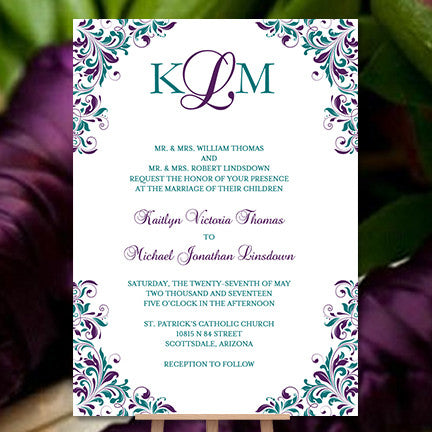 Wedding Invitation Template Kaitlyn Peacock Purple Teal