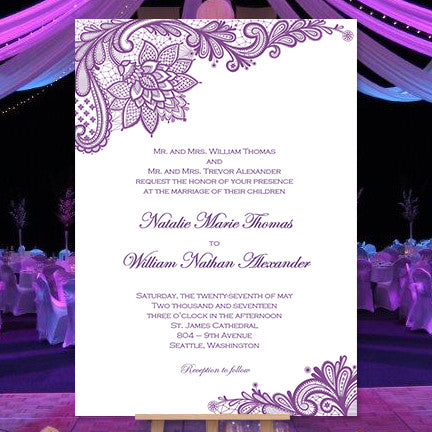 vintage lace wedding invitation purple wedding template shop. Black Bedroom Furniture Sets. Home Design Ideas