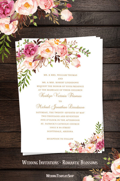 printable wedding invitation romantic blossoms make your own diy wedding template shop. Black Bedroom Furniture Sets. Home Design Ideas