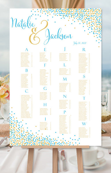 Wedding Seating Chart Poster Confetti Malibu Blue Gold Print Ready Digital File