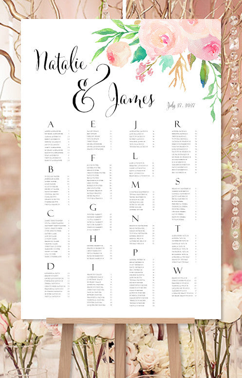 Wedding Seating Chart Poster Watercolor Floral 3 Print Ready Digital