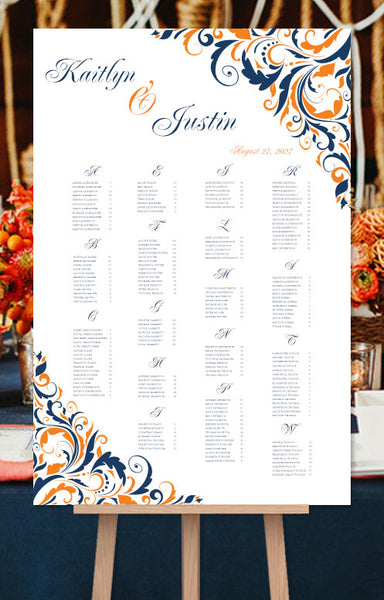 Wedding Seating Chart Poster Brooklyn Orange Navy Blue