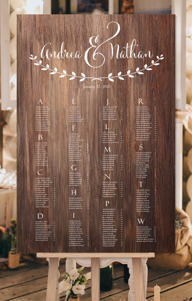 Wedding Seating Chart Andrea Wooden Background