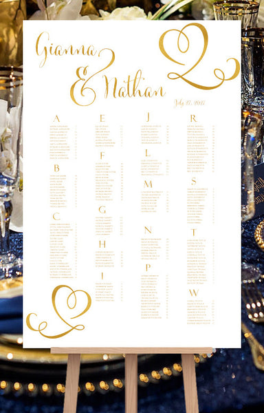 Wedding Seating Chart Poster Calligraphic Heart Gold