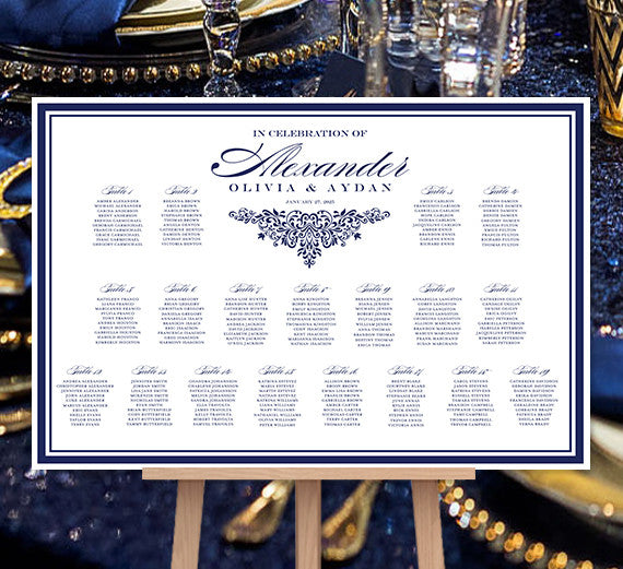 Wedding Seating Chart Poster Anna Maria Navy Blue