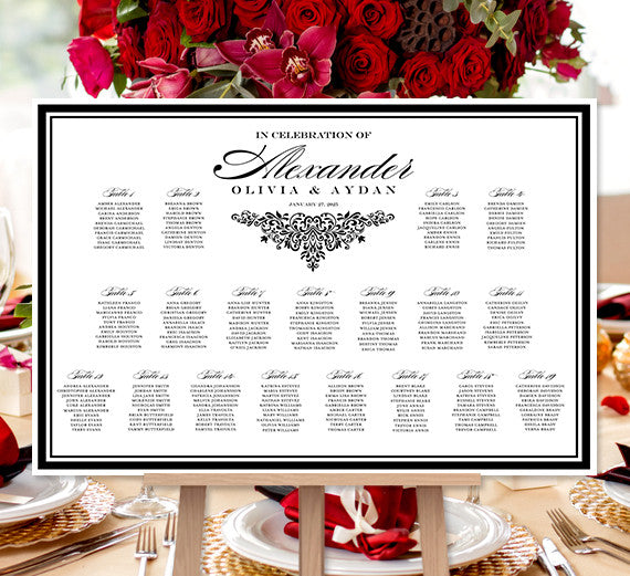 Wedding Seating Chart Poster Anna Maria Black White Print Ready