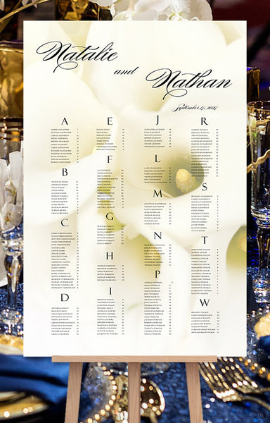 Wedding Seating Chart Poster Calla Lily