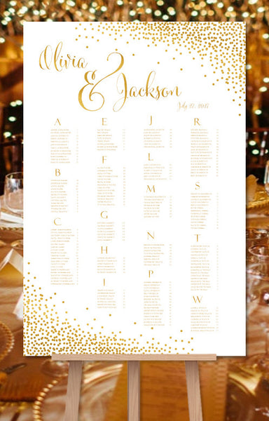 Wedding Seating Chart Poster Plan Confetti Gold