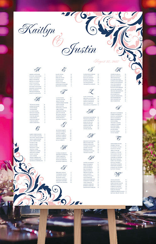 Wedding seating chart poster brooklyn navy blue blush pink print wedding seating chart poster brooklyn navy blue blush pink junglespirit Gallery