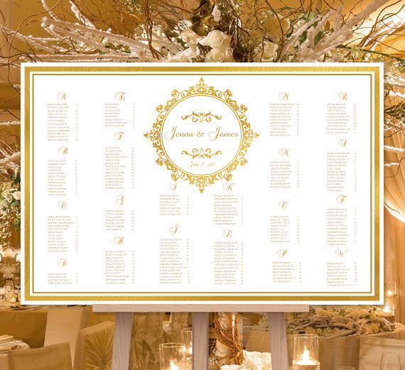Wedding Seating Chart Poster Arabella Gold