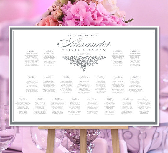Wedding Seating Chart Poster Anna Maria Dark Gray White Print Ready Digital File