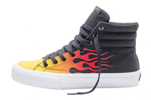 SNEAKERS & SKATE SHOES | STRAYE VENICE - BLACK RED FLAMES