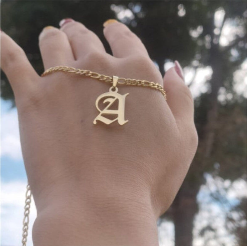 Old English Initial Necklace - Gold