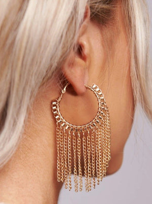 Gold Chain Hoop Earring - bigcityboutique