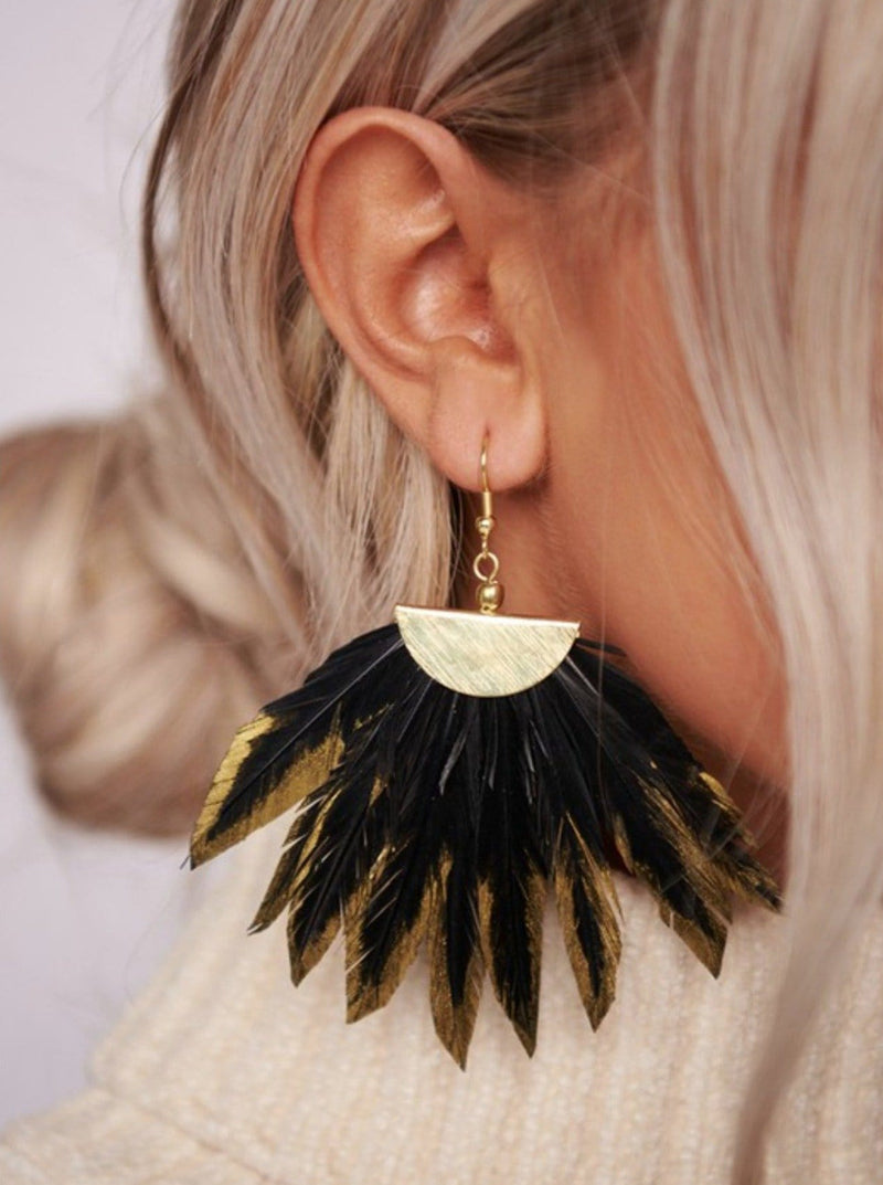 Gold Dipped Feather Earrings - bigcityboutique