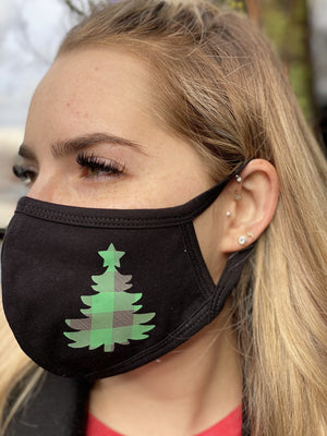 Mask - Green Buffalo Check Plaid Christmas Tree Face Covering