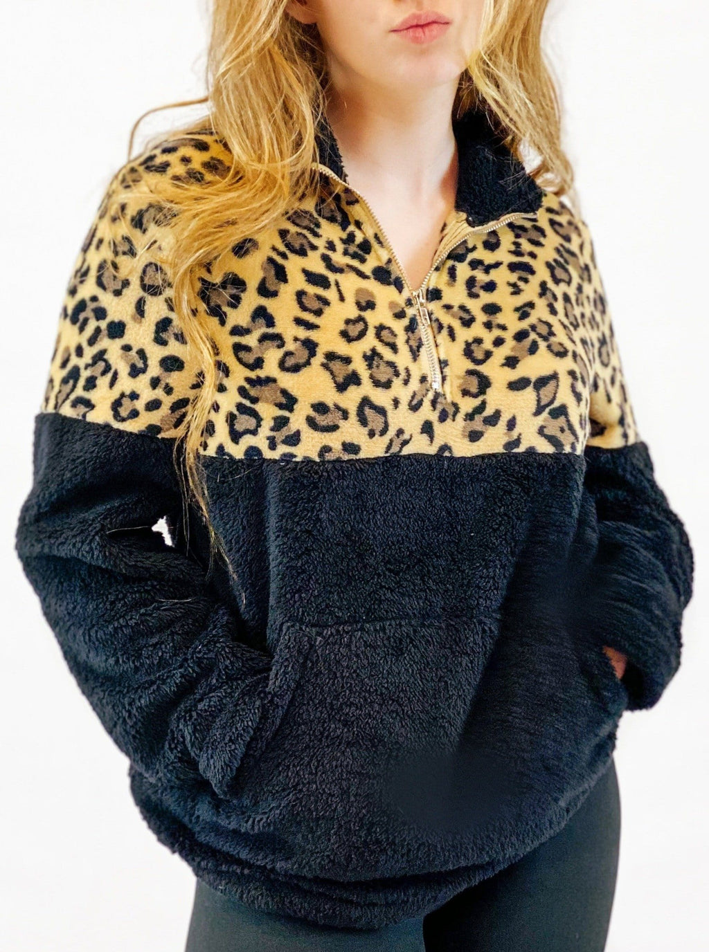 Leopard Fleece Pullover - Black - bigcityboutique