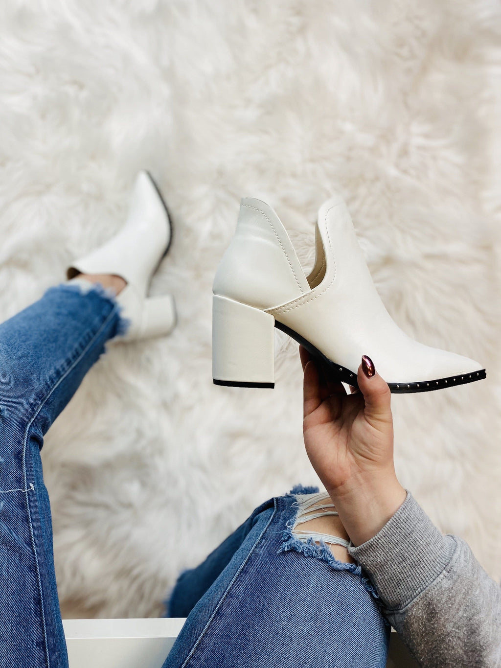 White Studded Booties - bigcityboutique