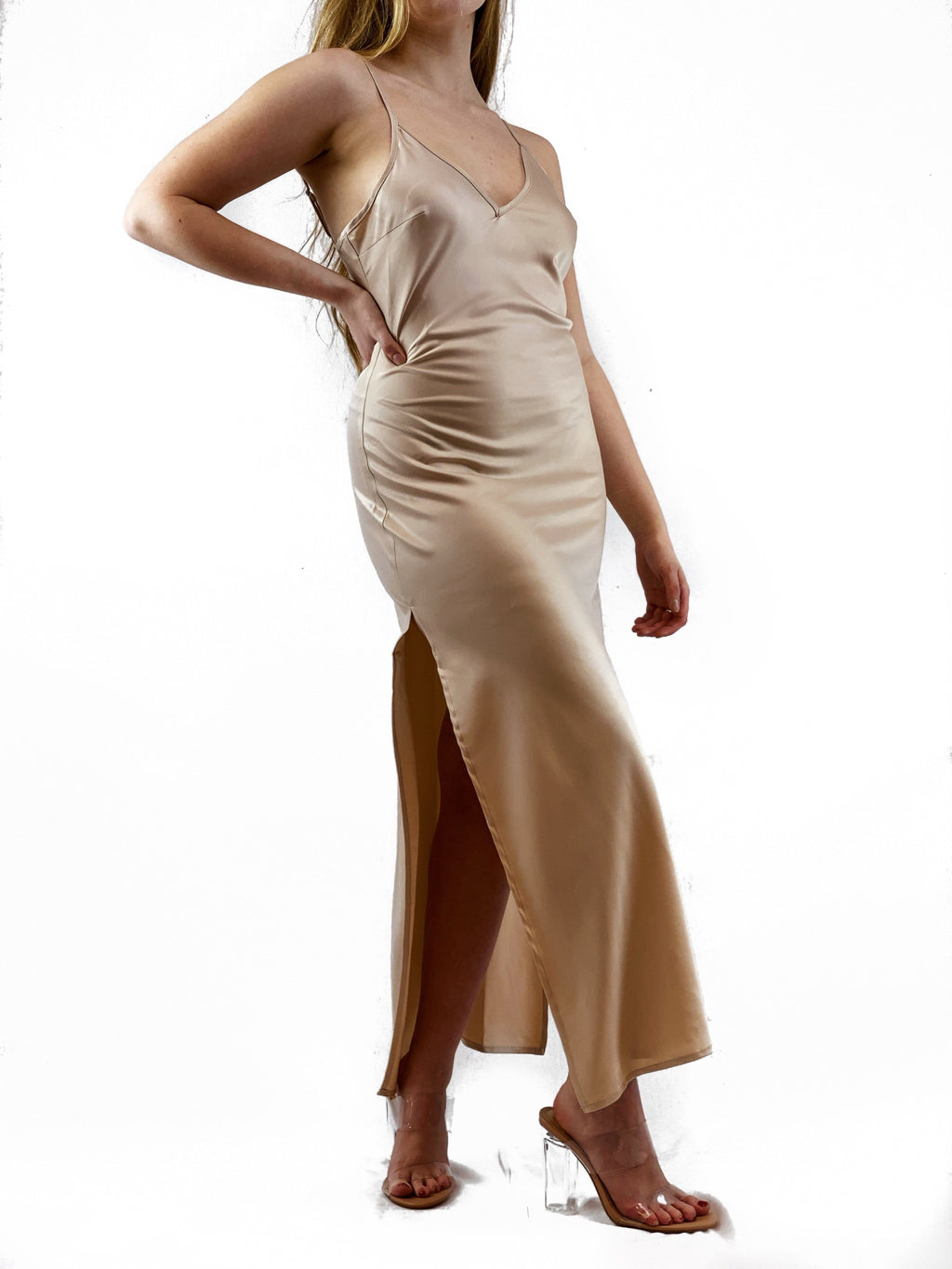 Satin Slip Dress - Champagne - bigcityboutique