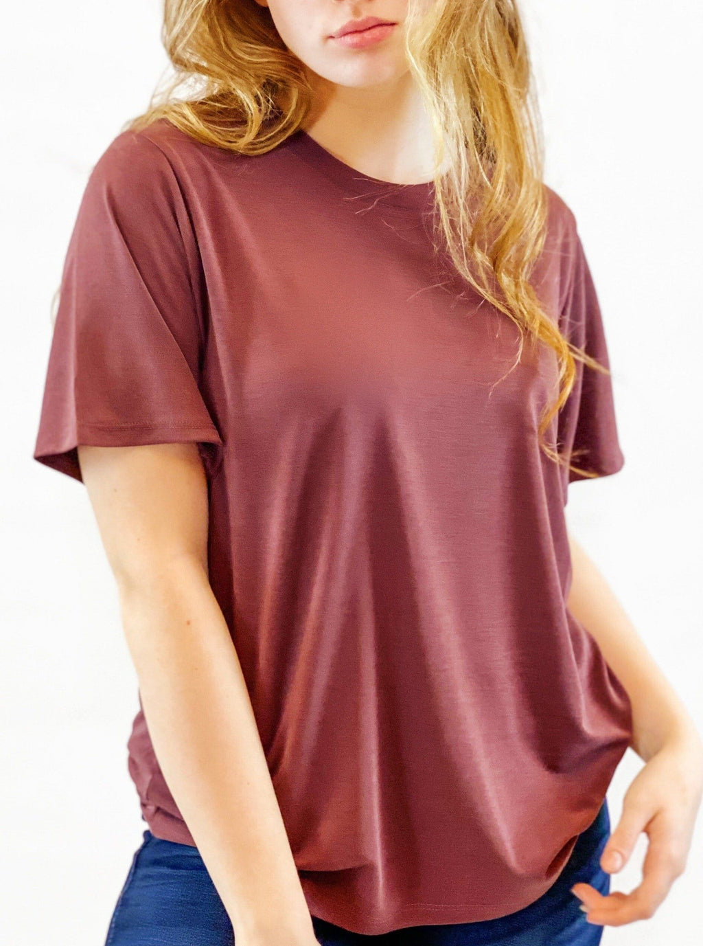 Relaxed Fit Tee - Dark Mauve - bigcityboutique