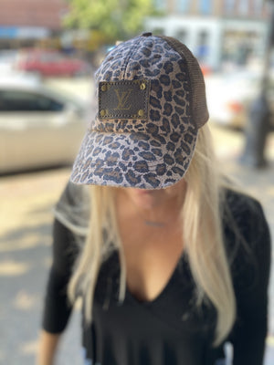 LV Leopard & Mesh Hat - Brown
