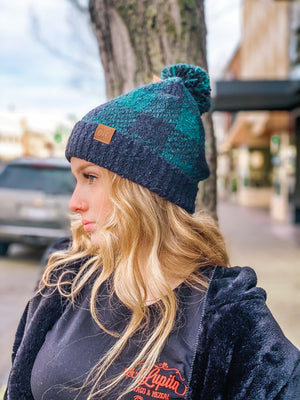 Cuddle Weather Buffalo Print Beanie w Pom - Black/Deep Pine