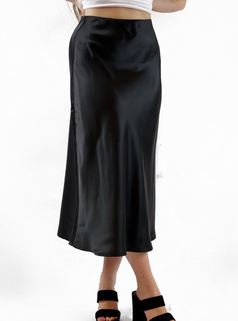 High Waist Satin Midi Skirt - bigcityboutique
