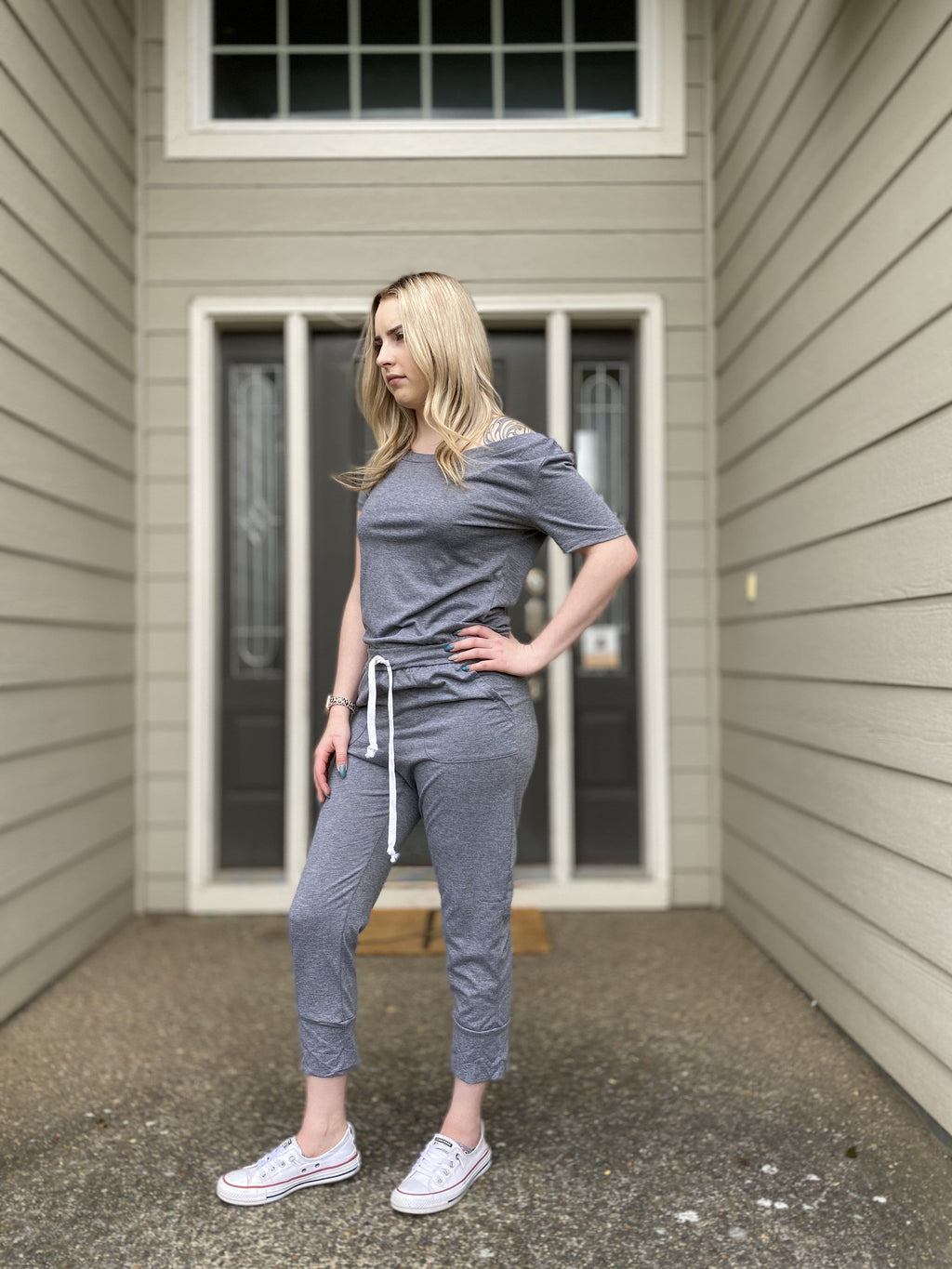 Virtual Happy Hour Jumpsuit - Gray