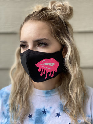 Washable & Reusable Mask - Pink Lip Drip