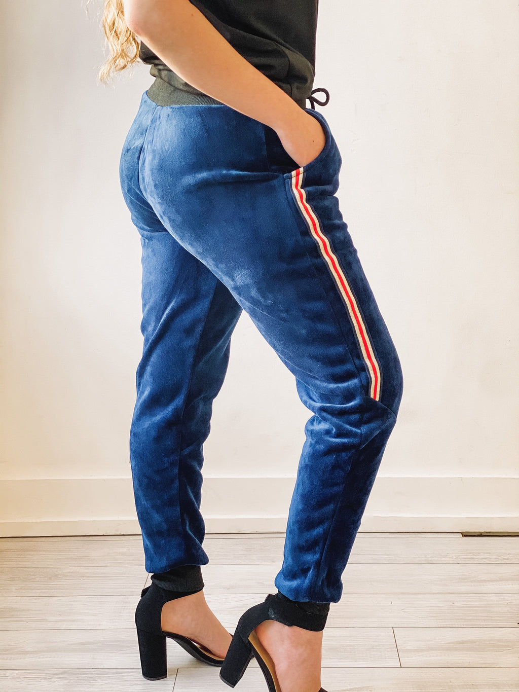 Living Lovely Velour Jogger - Navy