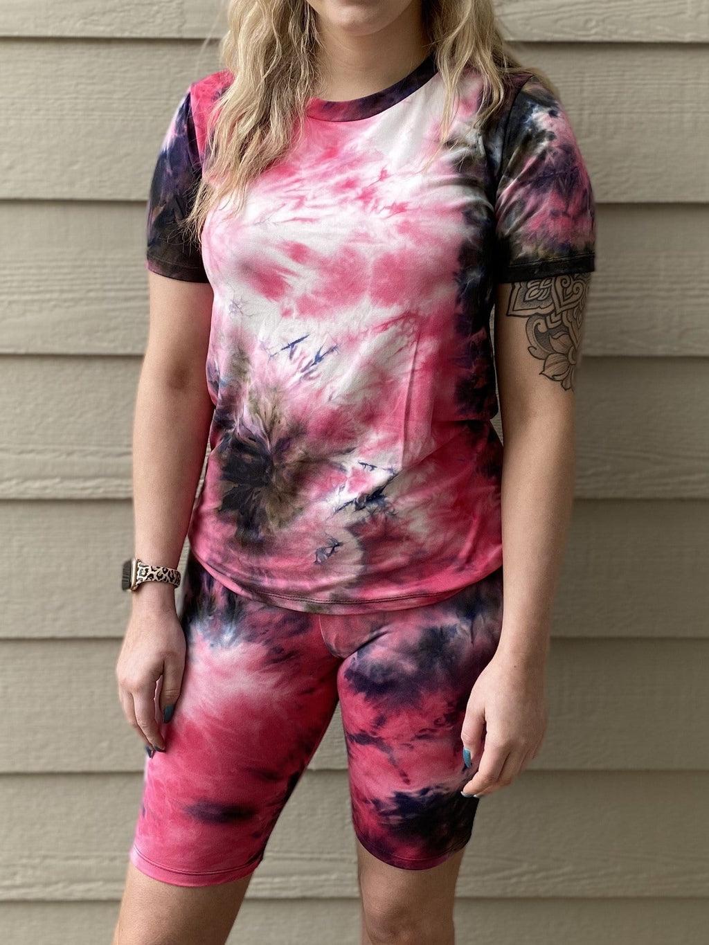 How You Like Me Now Tee - Fuchsia Tie Dye