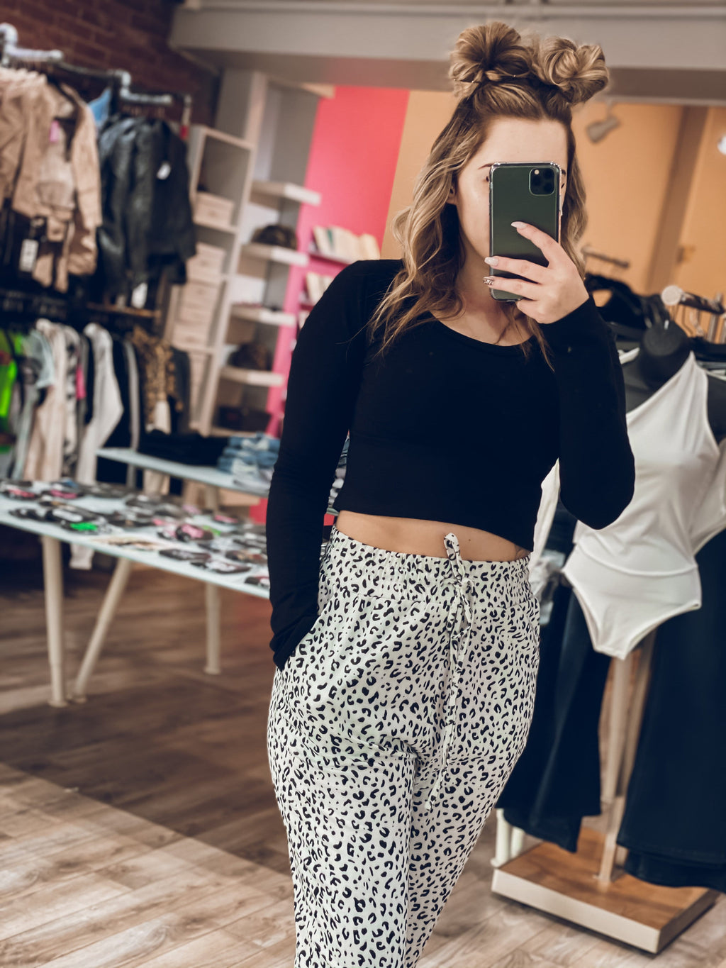 Young & Wild Leopard Jogger - White & Black