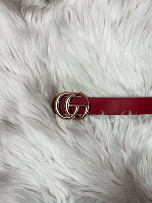Designer Inspired Burgundy Belt
