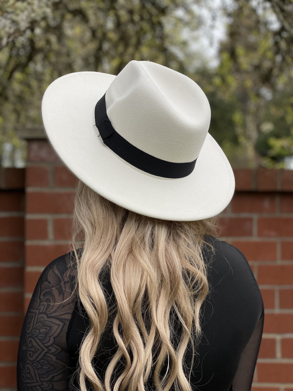 Wide Brim Felt Hat - Cream