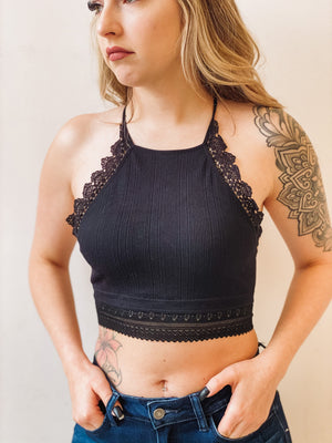 Soulmate High Neck Crop Top - Black
